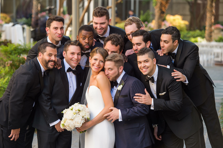 Zale / Bride and Groom with the groomsmen