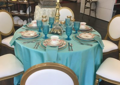 Playing with table settings at TLC Event Rentals