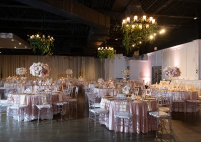 The Ballroom of Forty50, Flowers by Lizzie Bees, Linen by Simcha Kosher Catering, Light by LeForce, Photo by Amy Herfurth